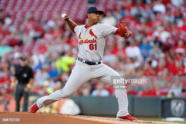 Alex Reyes of the St Louis Cardinals throws a pitch during the first inning of the game against the Cincinnati Reds at Great American Ball Park on...