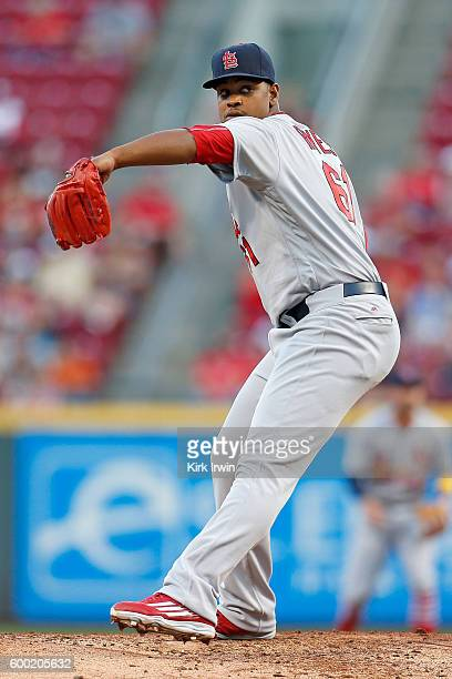 Alex Reyes of the St Louis Cardinals throws a pitch during the game against the Cincinnati Reds at Great American Ball Park on September 2 2016 in...