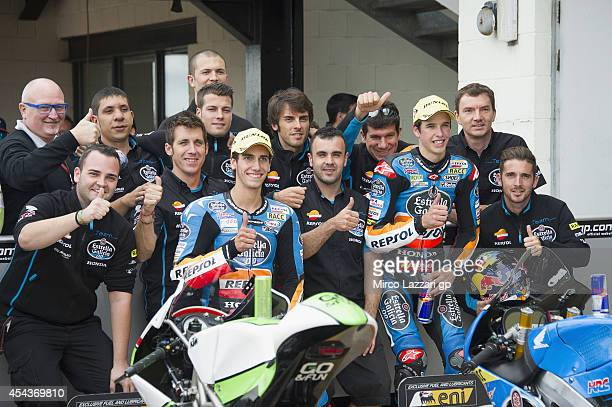 Alex Rins of Spain and Estrella Galicia 00 and Alex Marquez of Spain and Estrella Galicia 00 celebrate with team at the end of the qualifying...