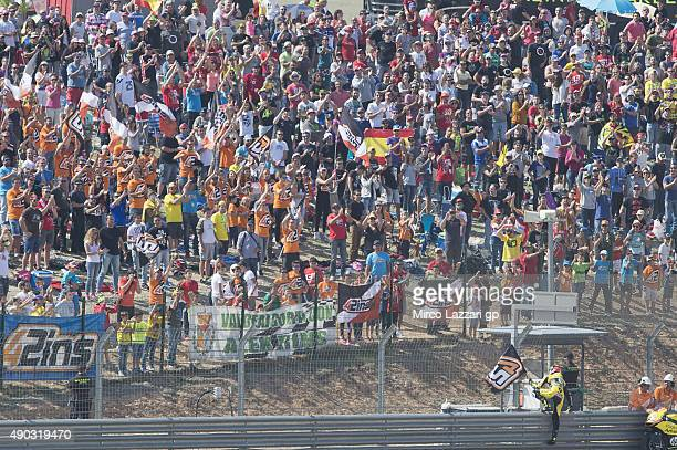 Alex Rins of Spain and Pagina Amarillas HP40 celebrates in front of fans at the end of the Moto2 race during the MotoGP of Spain Race at Motorland...