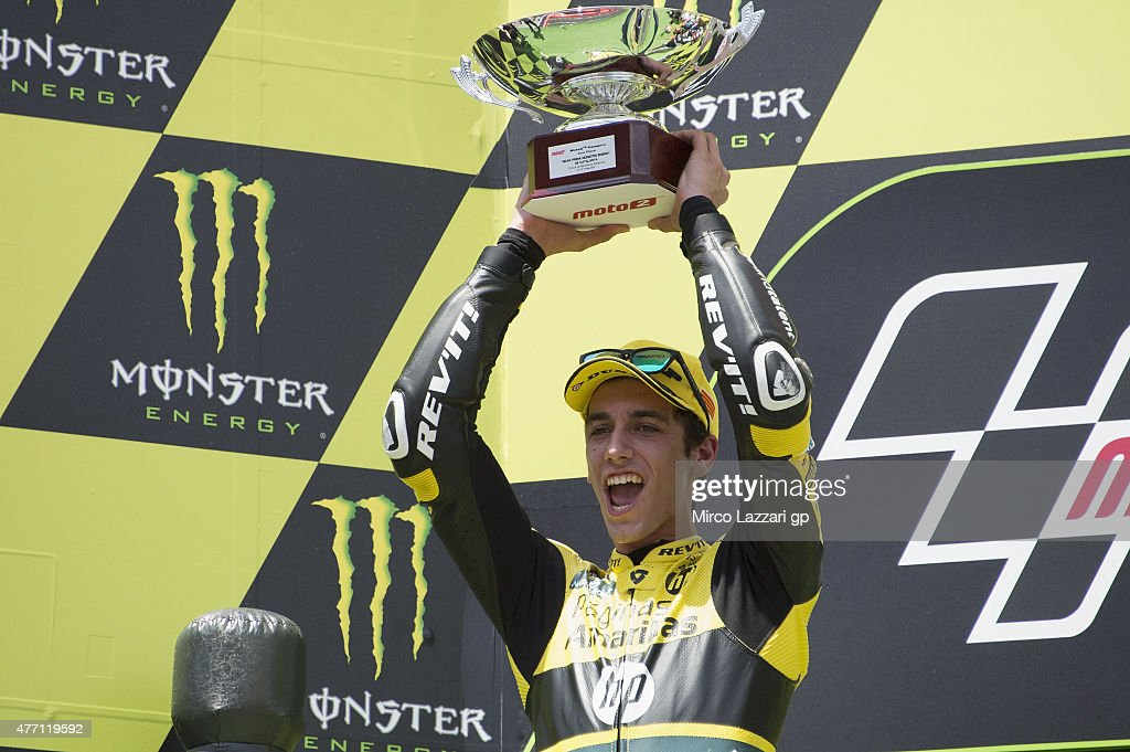 Alex Rins of Spain and Pagina Amarillas HP40 celebrates the second place on the podium at the end of the Moto2 race during the MotoGp of Catalunya - Race at Circuit de Catalunya on June 14, 2015 in Montmelo, Spain.