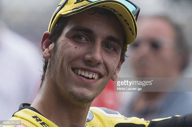 Alex Rins of Spain and Pagina Amarillas HP40 celebrates the victory under the podium at the end of the Moto2 race during the MotoGp Red Bull US...