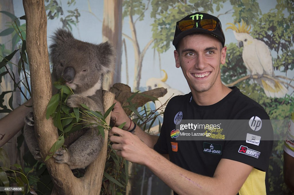 Alex Rins of Spain and Pagina Amarillas HP40 jokes with a koala during a pre-event at the Maru Koala Park ahead of the 2015 MotoGP of Australia at Phillip Island Grand Prix Circuit on October 15, 2015 in Phillip Island, Australia.