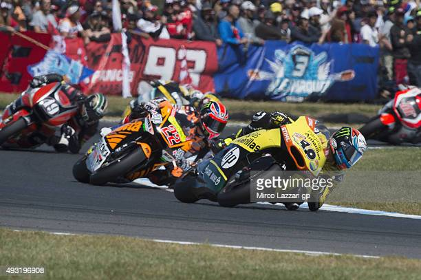 Alex Rins of Spain and Pagina Amarillas HP40 leads the field during the Moto2 race during the MotoGP of Australia Race during the 2015 MotoGP of...