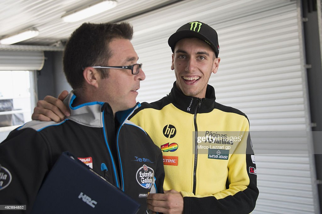 Alex Rins of Spain and Pagina Amarillas HP40 smiles in paddock during free practice for the 2015 MotoGP of Australia at Phillip Island Grand Prix Circuit on October 16, 2015 in Phillip Island, Australia.