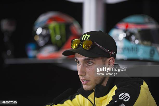 Alex Rins of Spain and Pagina Amarillas HP40 speaks during the press conference at the end of the qualifying practice during the MotoGP of Australia...