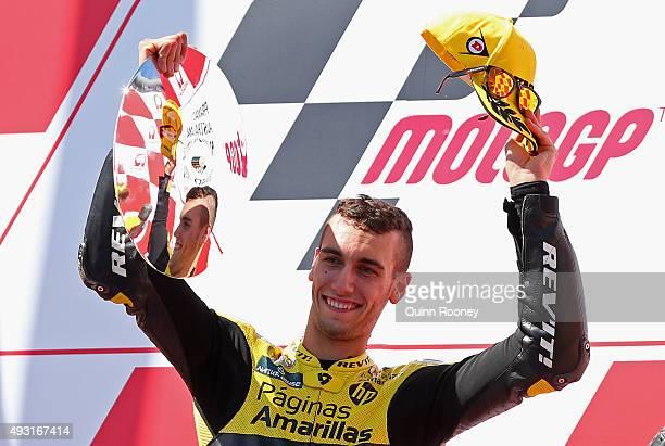 Alex Rins of Spain and Paginas Amarillas HP 40 celebrates winning the Moto2 race before the 2015 MotoGP of Australia at Phillip Island Grand Prix...