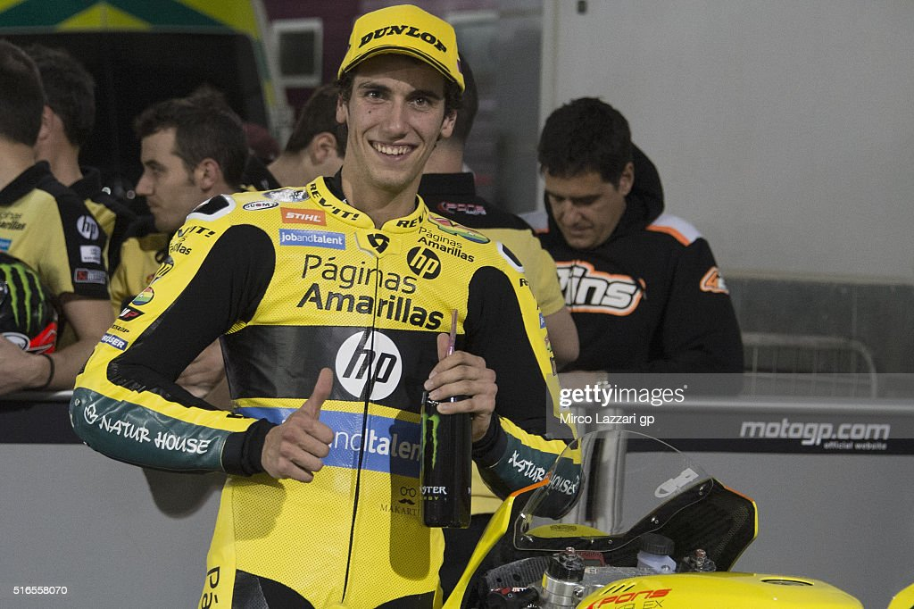 Alex Rins of Spain and Paginas Amarillas HP40 celebrates the third place at the end of the qualifying practice during the MotoGp of Qatar - Qualifying at Losail Circuit on March 19, 2016 in Doha, Qatar.