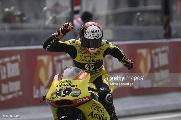Alex Rins of Spain and Paginas Amarillas HP40 celebrates the victory at the end of the Moto2 race during the MotoGp of France Race at on May 8 2016...