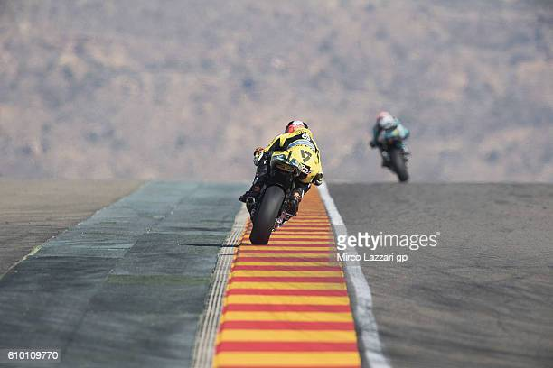 Alex Rins of Spain and Paginas Amarillas HP40 heads down a straight during the qualifying practice during the MotoGP of Spain Qualifying at Motorland...