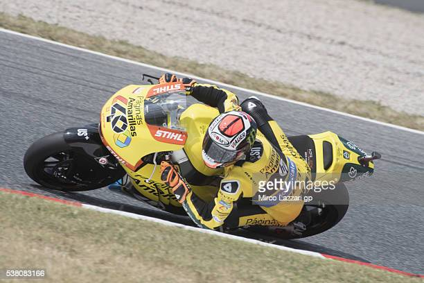 Alex Rins of Spain and Paginas Amarillas HP40 rounds the bend during the qualifying practice during the MotoGp of Catalunya Qualifying at Circuit de...