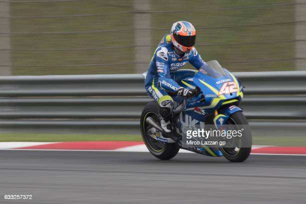 Alex Rins of Spain and Team Suzuki ECSTAR heads down a straight during the MotoGP Tests In Sepang at Sepang Circuit on February 1 2017 in Kuala...