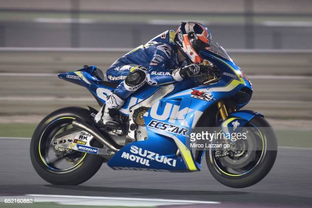 Alex Rins of Spain and Team Suzuki ECSTAR lifts the front wheel during the MotoGP Tests In Losail at Losail Circuit on March 11 2017 in Doha Qatar