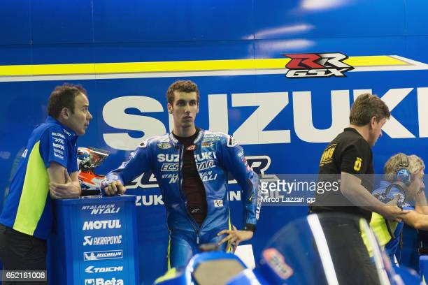 Alex Rins of Spain and Team Suzuki ECSTAR looks on in box during the MotoGP Tests In Losail at Losail Circuit on March 11 2017 in Doha Qatar