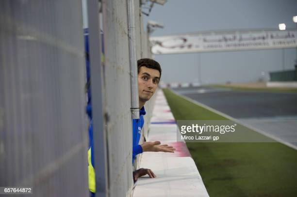 Alex Rins of Spain and Team Suzuki ECSTAR looks on the weather condition in pit during the MotoGp of Qatar Qualifying at Losail Circuit on March 25...