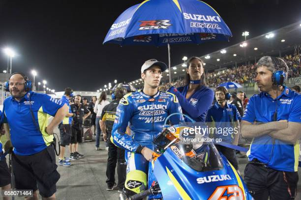 Alex Rins of Spain and Team Suzuki ECSTAR prepares to start on the grid during the MotoGP race during the MotoGp of Qatar Race at Losail Circuit on...
