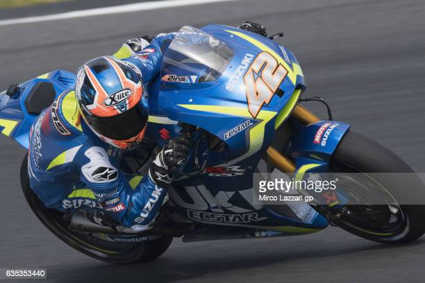Alex Rins of Spain and Team Suzuki ECSTAR rounds the bend during 2017 MotoGP preseason testing at Phillip Island Grand Prix Circuit on February 15...