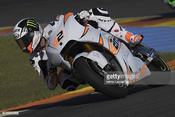 Alex Rins of Spain and Team Suzuki ECSTAR rounds the bend during the MotoGp Tests In Valencia at Ricardo Tormo Circuit on November 15 2016 in...