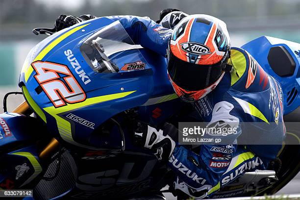 Alex Rins of Spain and Team Suzuki ECSTAR rounds the bend during the MotoGP Tests In Sepang at Sepang Circuit on January 30 2017 in Kuala Lumpur...