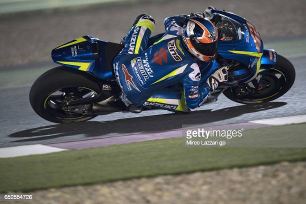 Alex Rins of Spain and Team Suzuki ECSTAR rounds the bend during the MotoGP Tests In Losail at Losail Circuit on March 12 2017 in Doha Qatar