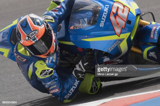 Alex Rins of Spain and Team Suzuki ECSTAR rounds the bend during the MotoGp of Argentina Free Practice on April 7 2017 in Rio Hondo Argentina