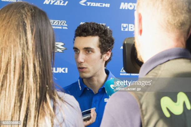 Alex Rins of Spain and Team Suzuki ECSTAR speaks with journalists during the MotoGP Tests In Sepang at Sepang Circuit on February 1 2017 in Kuala...