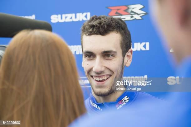Alex Rins of Spain and Team Suzuki ECSTAR speaks with journalists during 2017 MotoGP preseason testing at Phillip Island Grand Prix Circuit on...