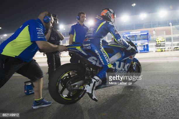 Alex Rins of Spain and Team Suzuki ECSTAR starts from box during the MotoGP Tests In Losail at Losail Circuit on March 11 2017 in Doha Qatar