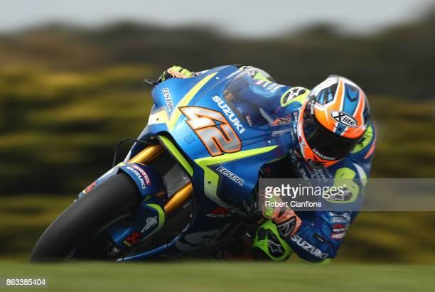 Alex Rins of Spain rides the TEAM SUZUKI ECSTAR Suzuki during free practice for the 2017 MotoGP of Australia at Phillip Island Grand Prix Circuit on...