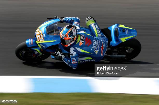 Alex Rins of Spainmand Team SUZUKI ECSTAR rides during 2017 MotoGP preseason testing at Phillip Island Grand Prix Circuit on February 15 2017 in...