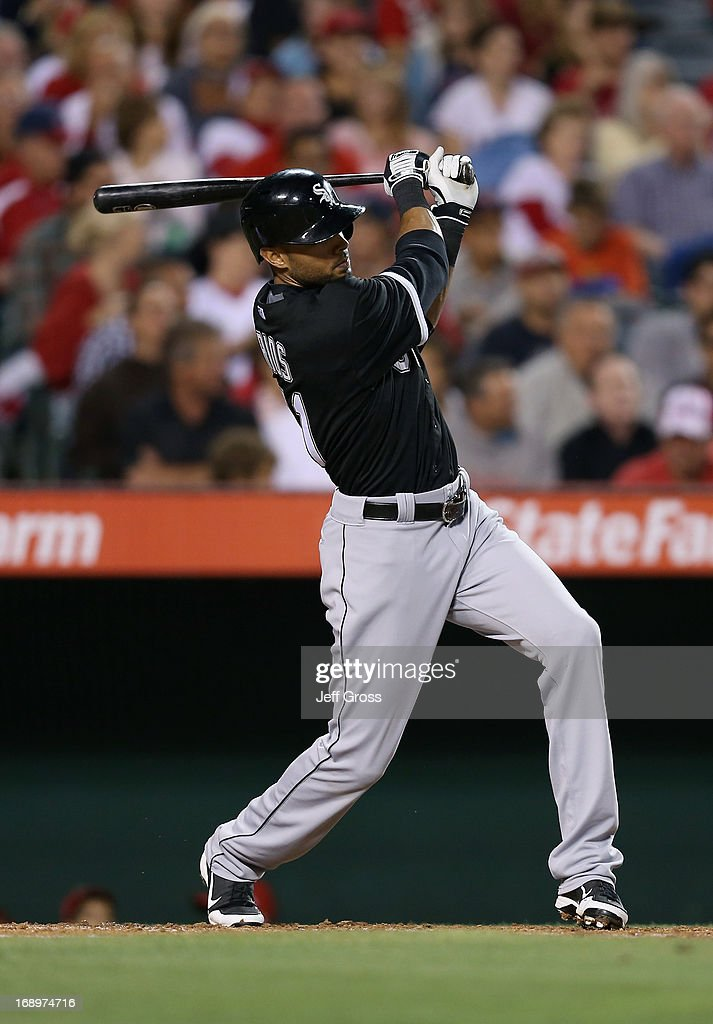 <a gi-track='captionPersonalityLinkClicked' href=/galleries/search?phrase=Alex+Rios&family=editorial&specificpeople=224676 ng-click='$event.stopPropagation()'>Alex Rios</a> #51 of the Chicago White Sox hits a base hit against the Los Angeles Angels of Anaheim in the fourth inning at Angel Stadium of Anaheim on May 17, 2013 in Anaheim, California.