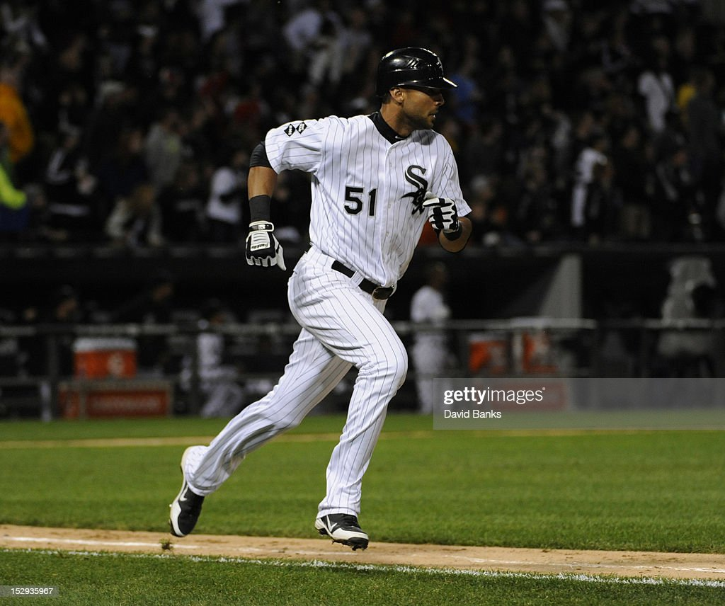 <a gi-track='captionPersonalityLinkClicked' href=/galleries/search?phrase=Alex+Rios&family=editorial&specificpeople=224676 ng-click='$event.stopPropagation()'>Alex Rios</a> #51 of the Chicago White Sox hits a double in the sixth inning against the Tampa Bay Rays on September 28, 2012 at U.S. Cellular Field in Chicago, Illinois.