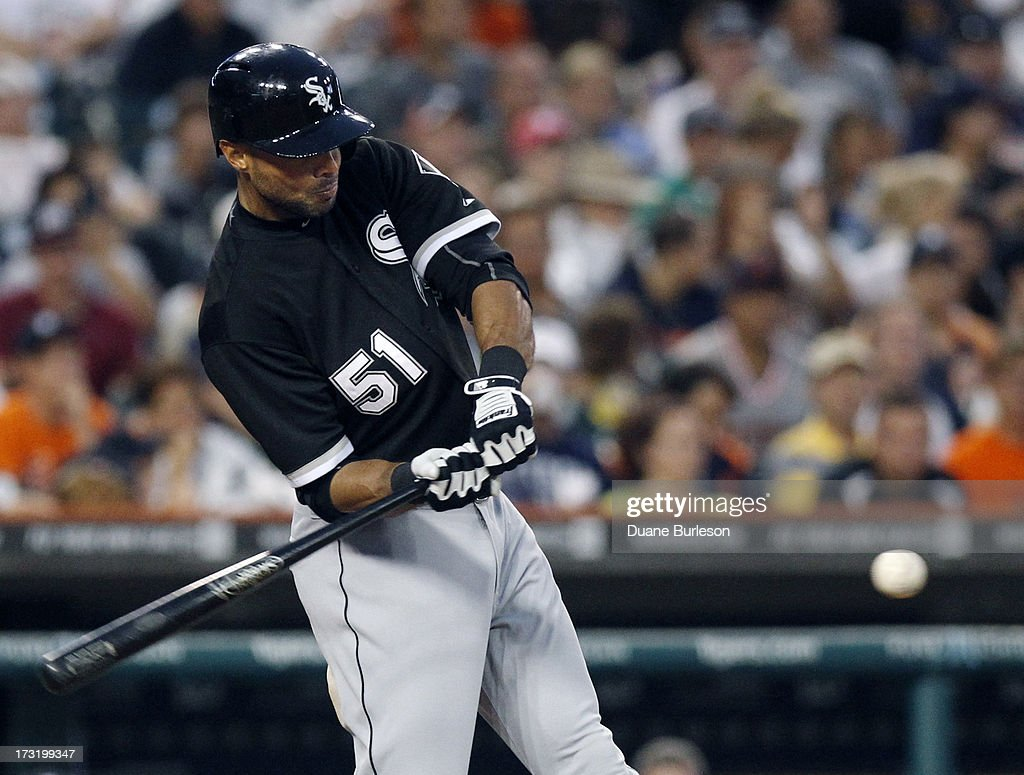 <a gi-track='captionPersonalityLinkClicked' href=/galleries/search?phrase=Alex+Rios&family=editorial&specificpeople=224676 ng-click='$event.stopPropagation()'>Alex Rios</a> #51 of the Chicago White Sox hits a single against the Detroit Tigers in the fifth inning at Comerica Park on July 9, 2013 in Detroit, Michigan. Rios went 6-for-6 at the plate in a 11-4 win over the Tigers.