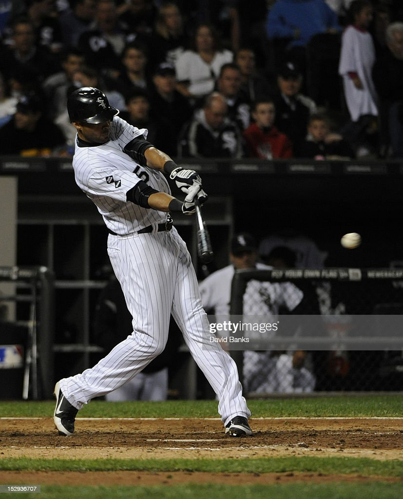 <a gi-track='captionPersonalityLinkClicked' href=/galleries/search?phrase=Alex+Rios&family=editorial&specificpeople=224676 ng-click='$event.stopPropagation()'>Alex Rios</a> #51 of the Chicago White Sox hits a single in the eighth inning against the Tampa Bay Rays on September 28, 2012 at U.S. Cellular Field in Chicago, Illinois. The Chicago White Sox defeated the Tampa Bay Rays 3-1.