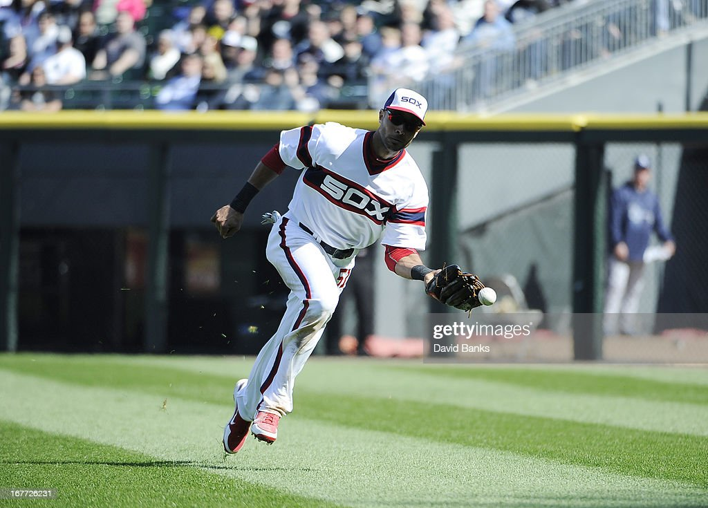 <a gi-track='captionPersonalityLinkClicked' href=/galleries/search?phrase=Alex+Rios&family=editorial&specificpeople=224676 ng-click='$event.stopPropagation()'>Alex Rios</a> #51 of the Chicago White Sox makes an error that allowed the Tampa Bay Rays to score two runs during the eighth inning on April 28, 2013 at U.S. Cellular Field in Chicago, Illinois.