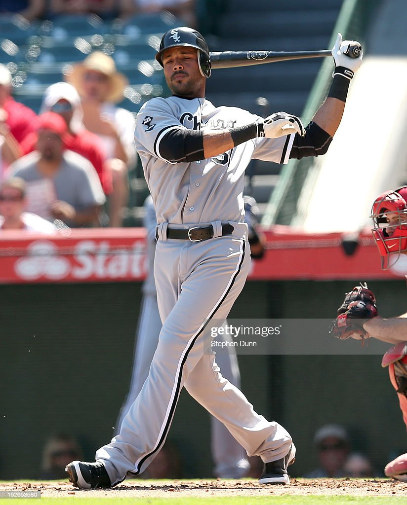 <a gi-track='captionPersonalityLinkClicked' href=/galleries/search?phrase=Alex+Rios&family=editorial&specificpeople=224676 ng-click='$event.stopPropagation()'>Alex Rios</a> #51 of the Chicago White Sox strikes out swinging with runners at second and third in the first inning against the Los Angeles Angels of Anaheim at Angel Stadium of Anaheim on September 23, 2012 in Anaheim, California.