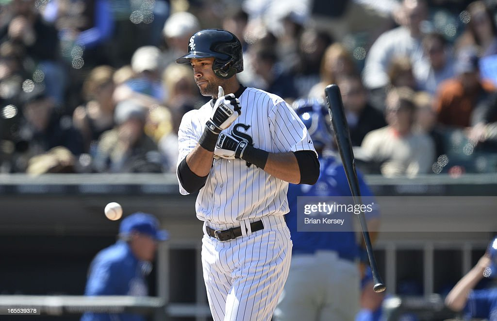 Alex Rios #51 of the Chicago White Sox tosses his bat after striking out during the second inning against the Kansas City Royals on April 4, 2012 at U.S. Cellular Field in Chicago, Illinois.