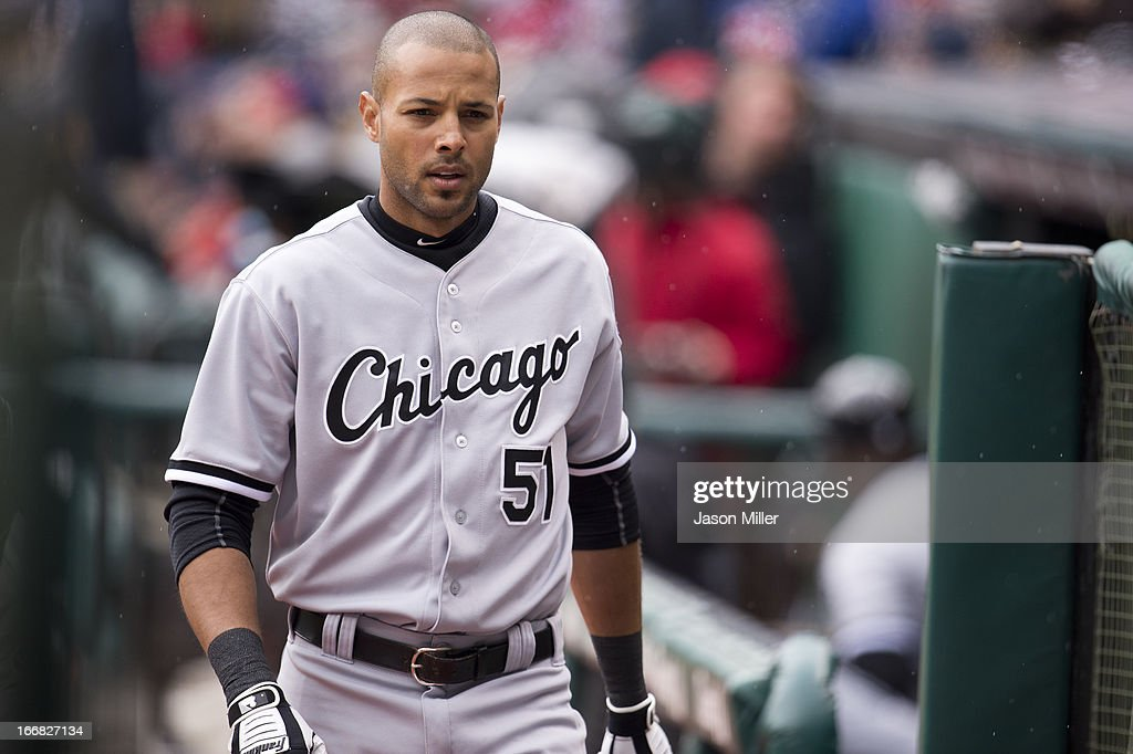 <a gi-track='captionPersonalityLinkClicked' href=/galleries/search?phrase=Alex+Rios&family=editorial&specificpeople=224676 ng-click='$event.stopPropagation()'>Alex Rios</a> #51 of the Chicago White Sox walks on to the field prior to the game against the Cleveland Indians at Progressive Field on April 14, 2013 in Cleveland, Ohio.