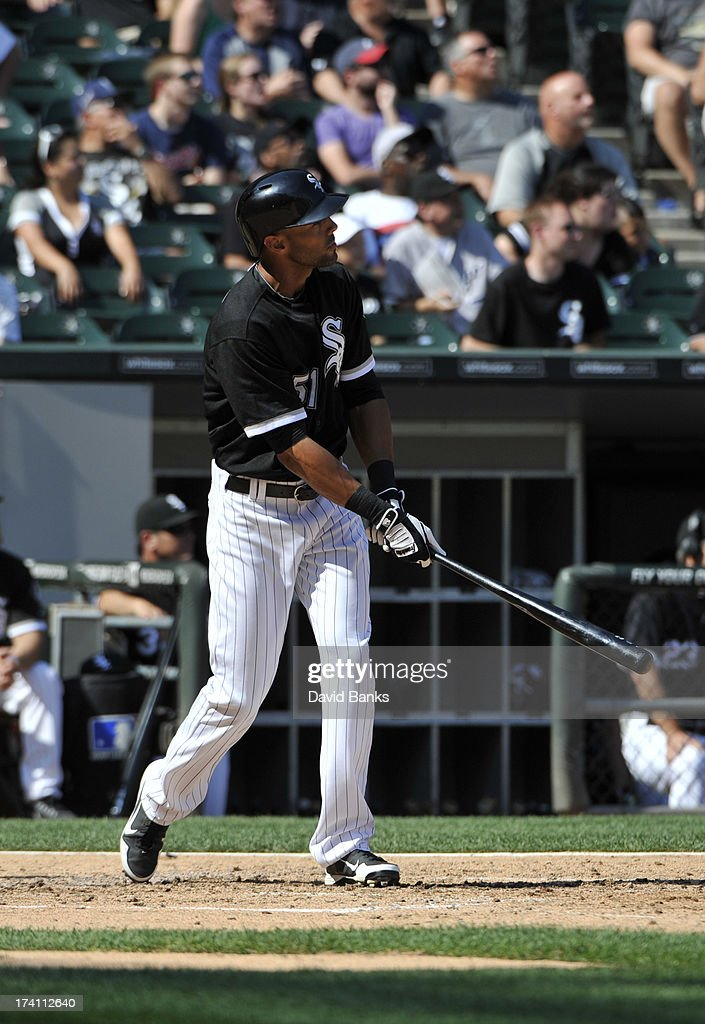 <a gi-track='captionPersonalityLinkClicked' href=/galleries/search?phrase=Alex+Rios&family=editorial&specificpeople=224676 ng-click='$event.stopPropagation()'>Alex Rios</a> #51 of the Chicago White Sox watches his grand-slam home run against the Atlanta Braves during the third inning on July 20, 2013 at U.S. Cellular Field in Chicago, Illinois.