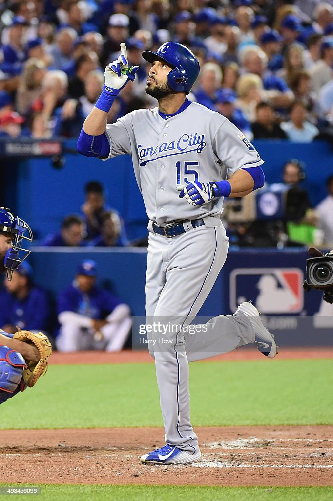 <a gi-track='captionPersonalityLinkClicked' href=/galleries/search?phrase=Alex+Rios&family=editorial&specificpeople=224676 ng-click='$event.stopPropagation()'>Alex Rios</a> #15 of the Kansas City Royals celebrates after hitting a solo home run in the second inning against the Toronto Blue Jays during game four of the American League Championship Series at Rogers Centre on October 20, 2015 in Toronto, Canada.