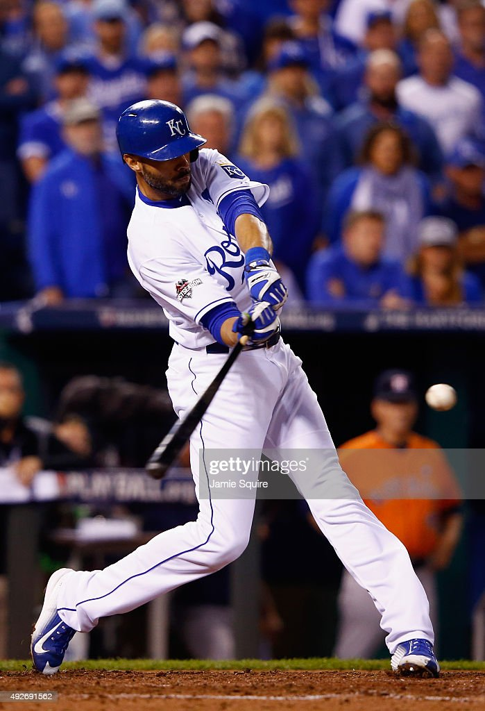 <a gi-track='captionPersonalityLinkClicked' href=/galleries/search?phrase=Alex+Rios&family=editorial&specificpeople=224676 ng-click='$event.stopPropagation()'>Alex Rios</a> #15 of the Kansas City Royals hits a two-run RBI double in the fifth inning against the Houston Astros during game five of the American League Divison Series at Kauffman Stadium on October 14, 2015 in Kansas City, Missouri.