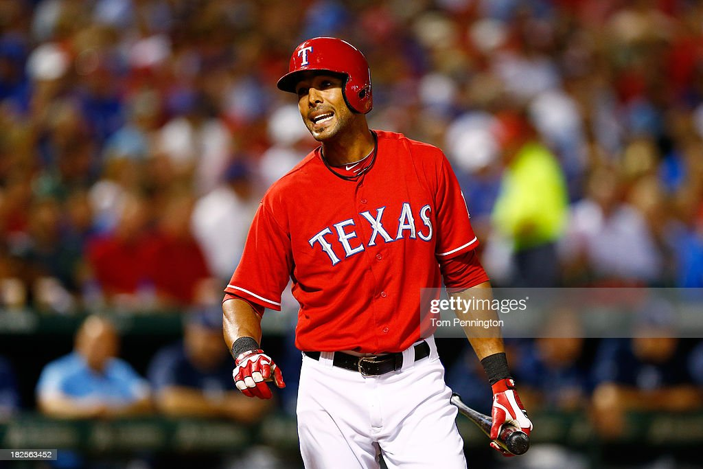<a gi-track='captionPersonalityLinkClicked' href=/galleries/search?phrase=Alex+Rios&family=editorial&specificpeople=224676 ng-click='$event.stopPropagation()'>Alex Rios</a> #51 of the Texas Rangers argues a call at the plate in the third inning against the Tampa Bay Rays during the American League Wild Card tiebreaker game at Rangers Ballpark in Arlington on September 30, 2013 in Arlington, Texas.