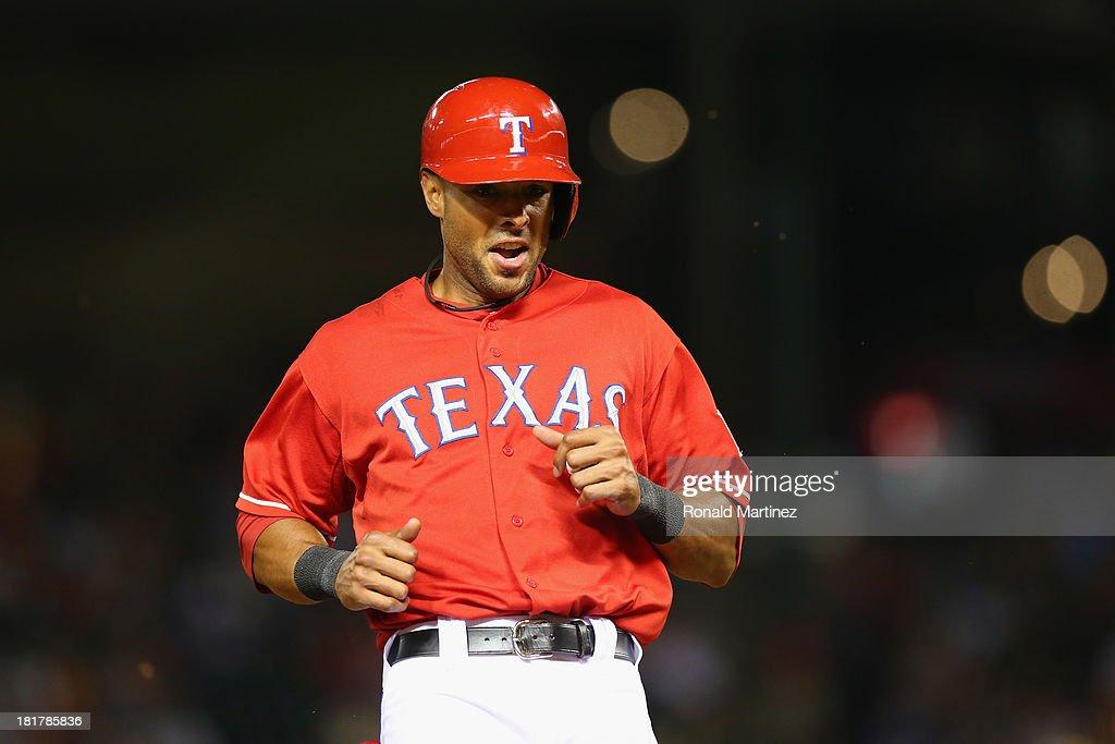 Alex Rios #51 of the Texas Rangers at Rangers Ballpark in Arlington on September 24, 2013 in Arlington, Texas.