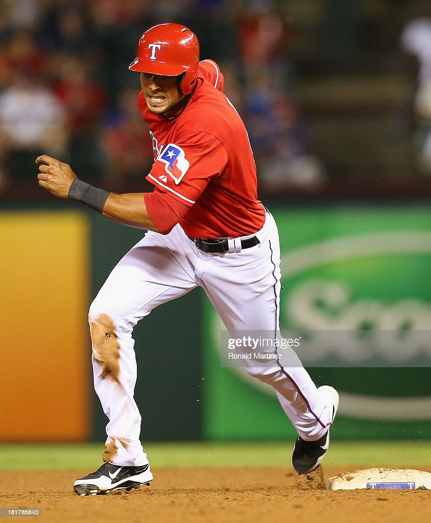 Alex Rios #51 of the Texas Rangers at Rangers Ballpark in Arlington on September 24, 2013 in Arlington, Texas.