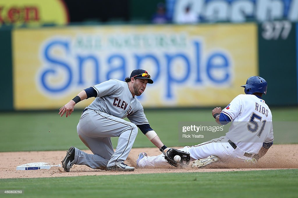<a gi-track='captionPersonalityLinkClicked' href=/galleries/search?phrase=Alex+Rios&family=editorial&specificpeople=224676 ng-click='$event.stopPropagation()'>Alex Rios</a> #51 of the Texas Rangers is caught stealing second in the eighth inning by <a gi-track='captionPersonalityLinkClicked' href=/galleries/search?phrase=Jason+Kipnis&family=editorial&specificpeople=5330784 ng-click='$event.stopPropagation()'>Jason Kipnis</a> #22 of the Cleveland Indiansat Globe Life Park in Arlington on June 8, 2014 in Arlington, Texas.