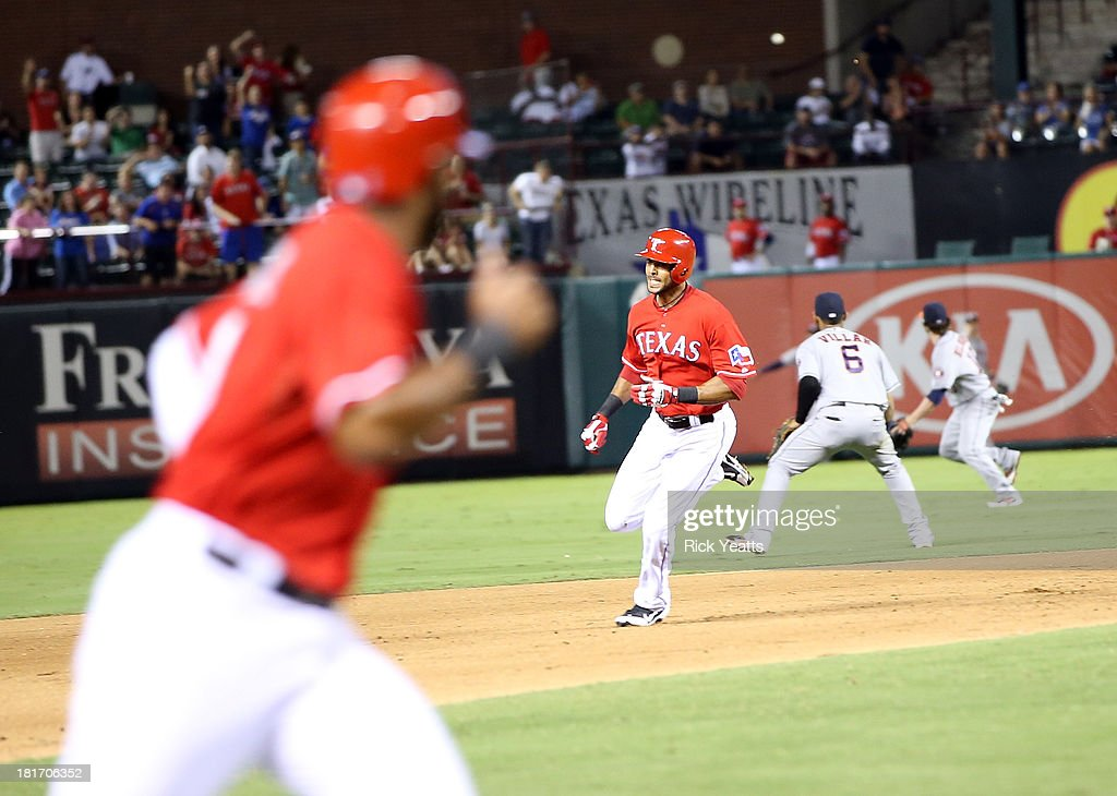 <a gi-track='captionPersonalityLinkClicked' href=/galleries/search?phrase=Alex+Rios&family=editorial&specificpeople=224676 ng-click='$event.stopPropagation()'>Alex Rios</a> #51 of the Texas Rangers rounds second base after hitting an RBI triple in the sixth inning to complete a cycle during a game against the Houston Astros at Rangers Ballpark in Arlington on September 23, 2013 in Arlington, Texas. Rios hit a two-run double in the first inning, a single in the third, and a solo home run in the fourth.