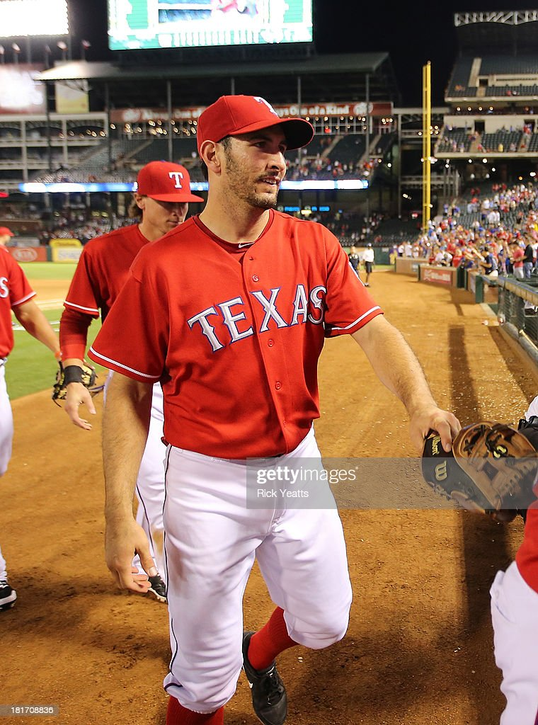 <a gi-track='captionPersonalityLinkClicked' href=/galleries/search?phrase=Alex+Rios&family=editorial&specificpeople=224676 ng-click='$event.stopPropagation()'>Alex Rios</a> #51 of the Texas Rangers walks off the field after hitting an RBI triple in the sixth inning to complete a cycle during a game against the Houston Astros at Rangers Ballpark in Arlington on September 23, 2013 in Arlington, Texas. Rios hit a two-run double in the first inning, a single in the third, and a solo home run in the fourth.