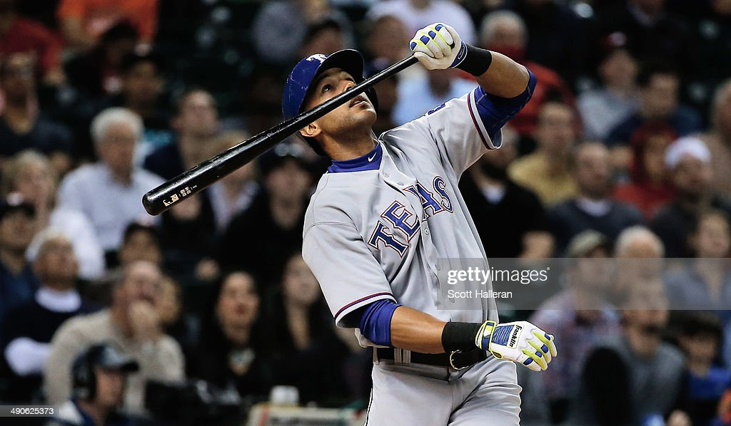 <a gi-track='captionPersonalityLinkClicked' href=/galleries/search?phrase=Alex+Rios&family=editorial&specificpeople=224676 ng-click='$event.stopPropagation()'>Alex Rios</a> #51 of the Texas Rangers watches a foul ball in the fifth inning of their game against the Houston Astros at Minute Maid Park on May 14, 2014 in Houston, Texas.