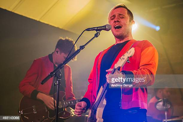 Alex Robertshaw and Jonathan Higgs of Everything Everything perform on stage at Canal Mills on October 17 2015 in Leeds England
