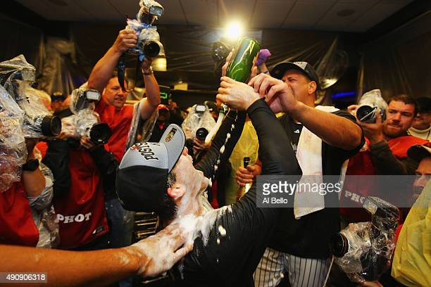 Alex Rodriguez and Brendan Ryan of the New York Yankees celebrates their 41 win against the Boston Red Sox and their wildcard playoff berth after...